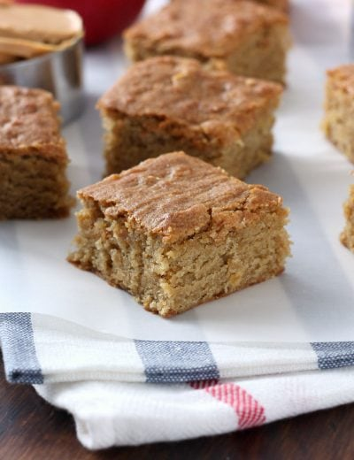 Chewy Peanut Butter Apple Bars Recipe from A Kitchen Addiction