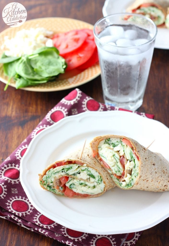 Protein Packed Spinach Feta Egg White Wraps Recipe from A Kitchen Addiction