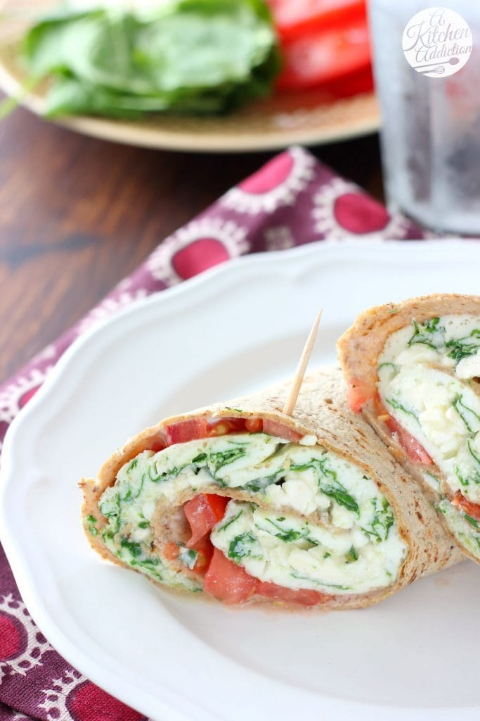 Spinach and Feta Egg White Wraps from A Kitchen Addiction