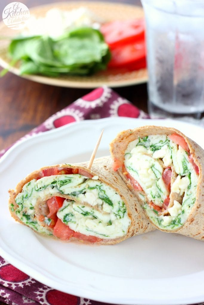 Easy Healthy Spinach and Feta Egg White Wraps from A Kitchen Addiction