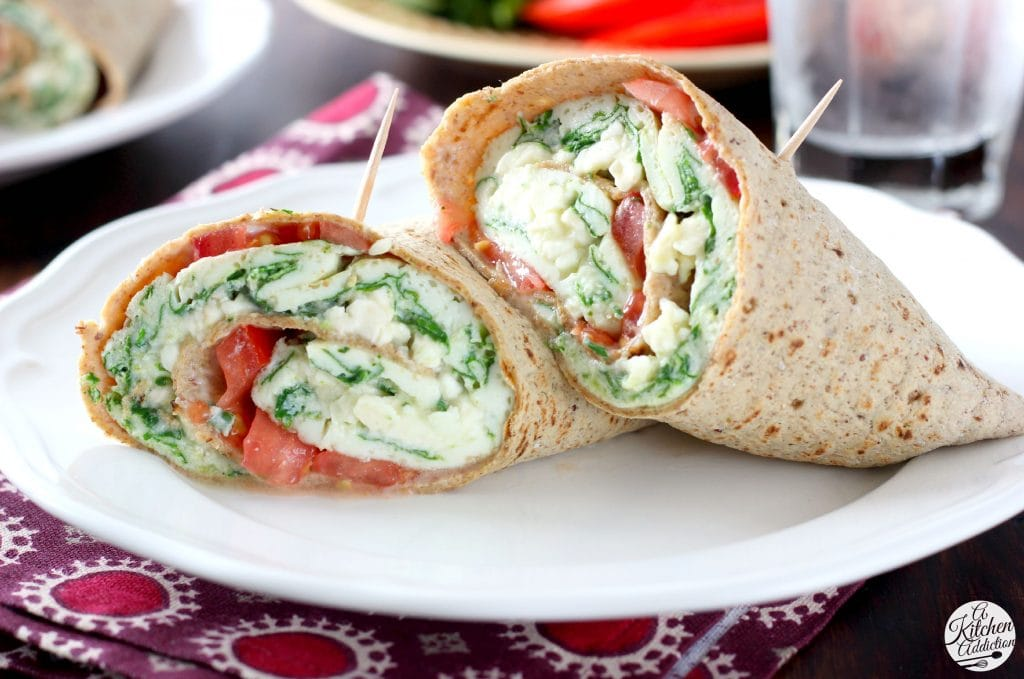 Protein Packed Spinach and Feta Egg White Wraps from @akitchenaddict