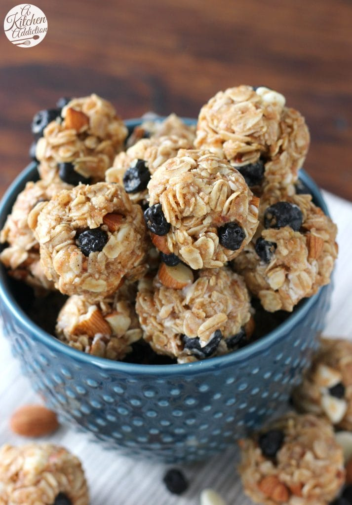 No Bake White Chocolate Blueberry Maple Granola Bites Recipe from A Kitchen Addiction