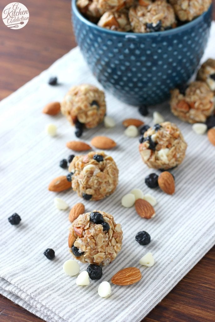 Easy White Chocolate Blueberry Granola Bites Recipe from A Kitchen Addiction
