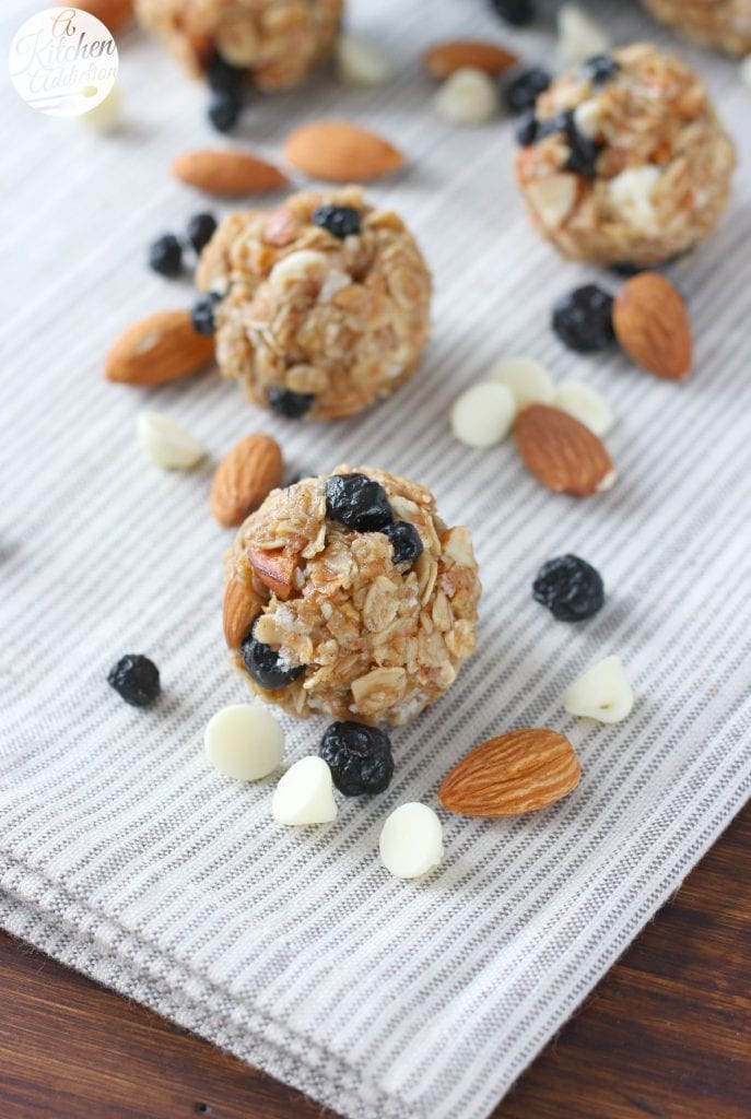 No Bake White Chocolate Blueberry Maple Granola Bites Recipe from A Kitchen Addiction @akitchenaddict