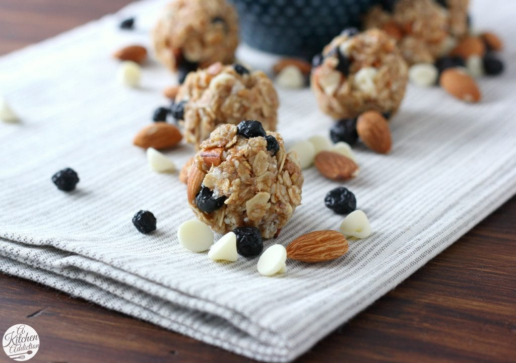 White Chocolate Blueberry Maple Granola Bites Recipe from A Kitchen Addiction