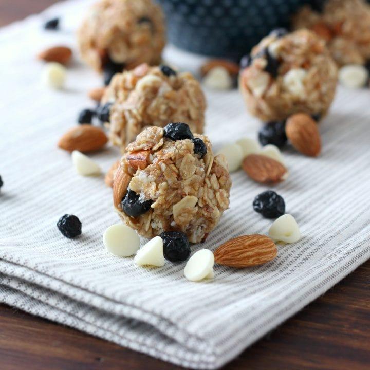 White Chocolate Blueberry Maple Granola Bites Recipe from A Kitchen Addiction