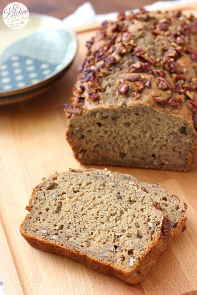 Maple Pecan Banana Quick Bread Recipe from A Kitchen Addiction