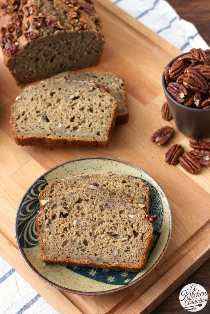 Healthy Maple Pecan Banana Bread Recipe from A Kitchen Addiction