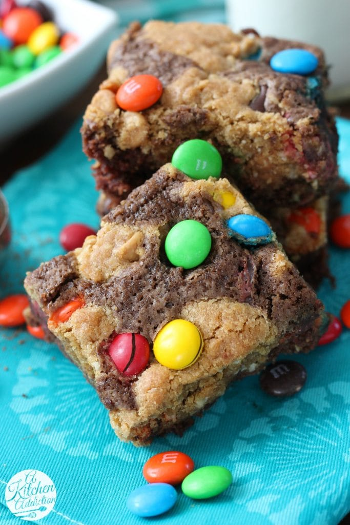 Monster Cookie Brownies Recipe from A Kitchen Addiction