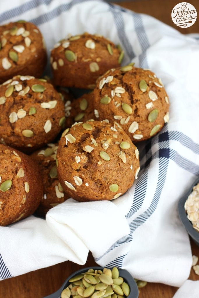 Easy Whole Wheat Pumpkin Oat Muffins Recipe from A Kitchen Addiction