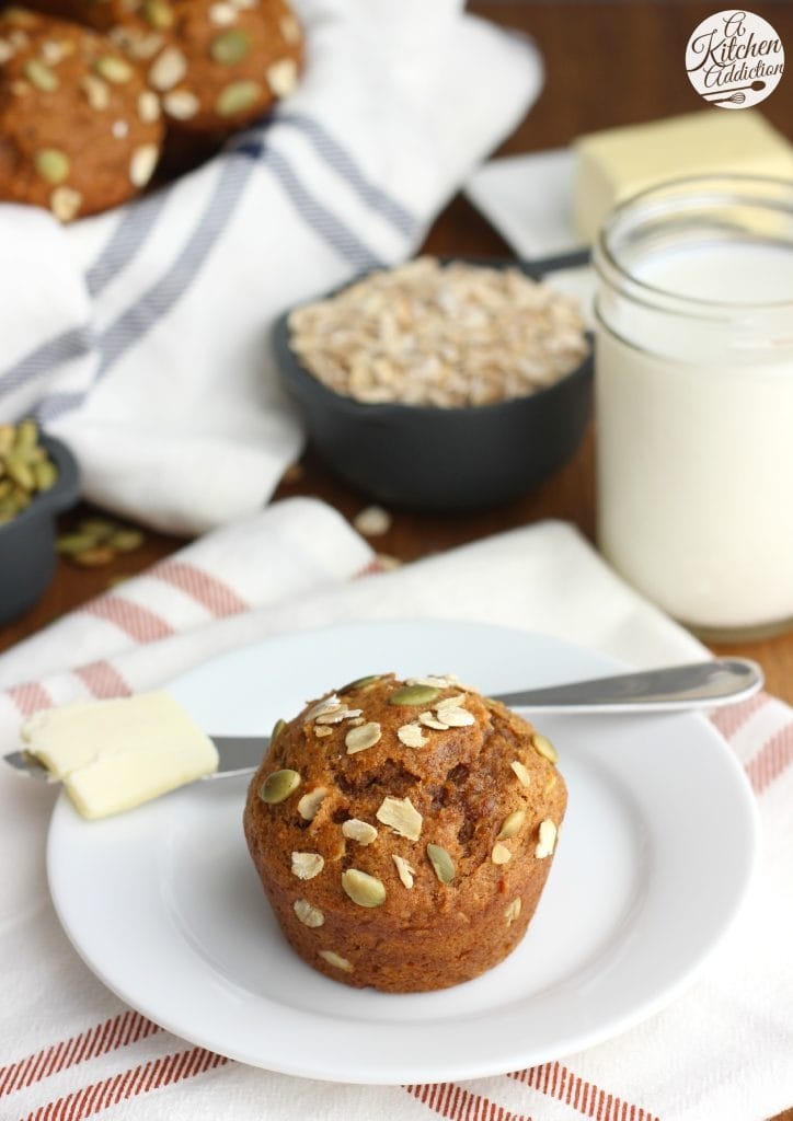 Easy One Bowl Pumpkin Oat Muffins Recipe from A Kitchen Addiction