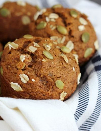 One Bowl Pumpkin Oat Muffins Recipe from A Kitchen Addiction