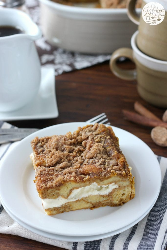 Pumpkin Cream Cheese French Toast Bake Recipe from A Kitchen Addiction