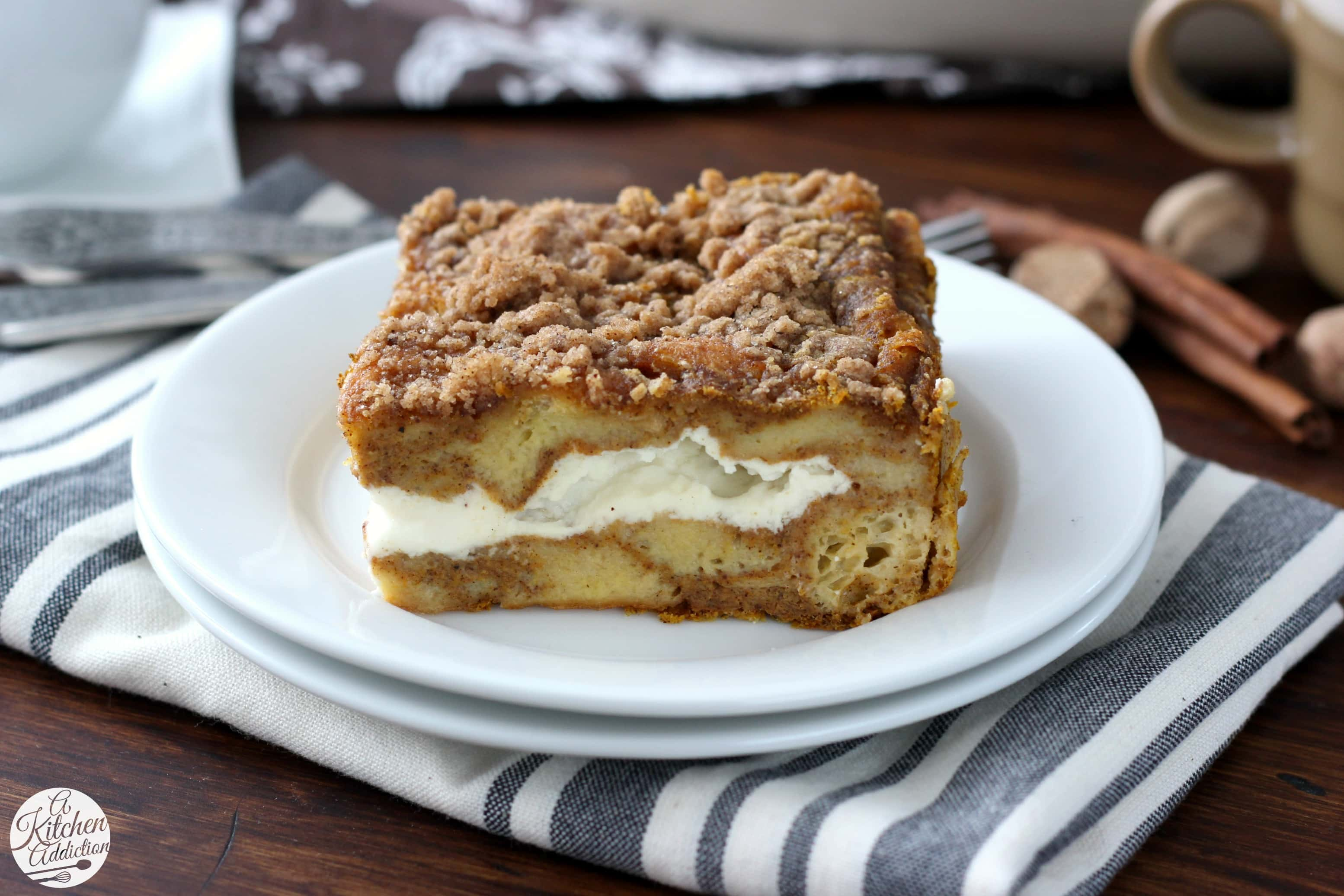 Pumpkin Cheesecake French Toast Bake Recipe from A Kitchen Addiction