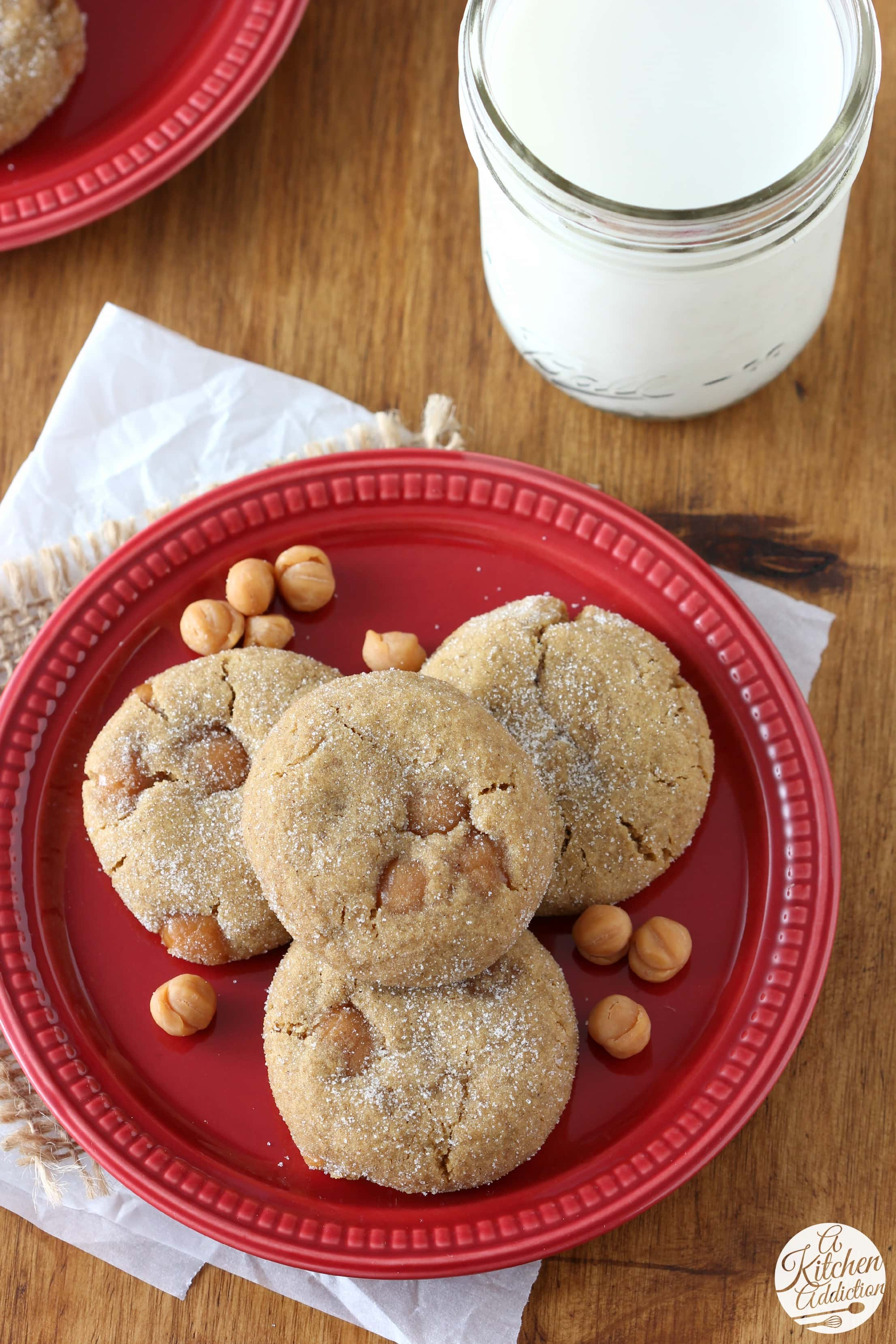 Soft Baked Ginger Cookies with Caramel Bits from A Kitchen Addiction