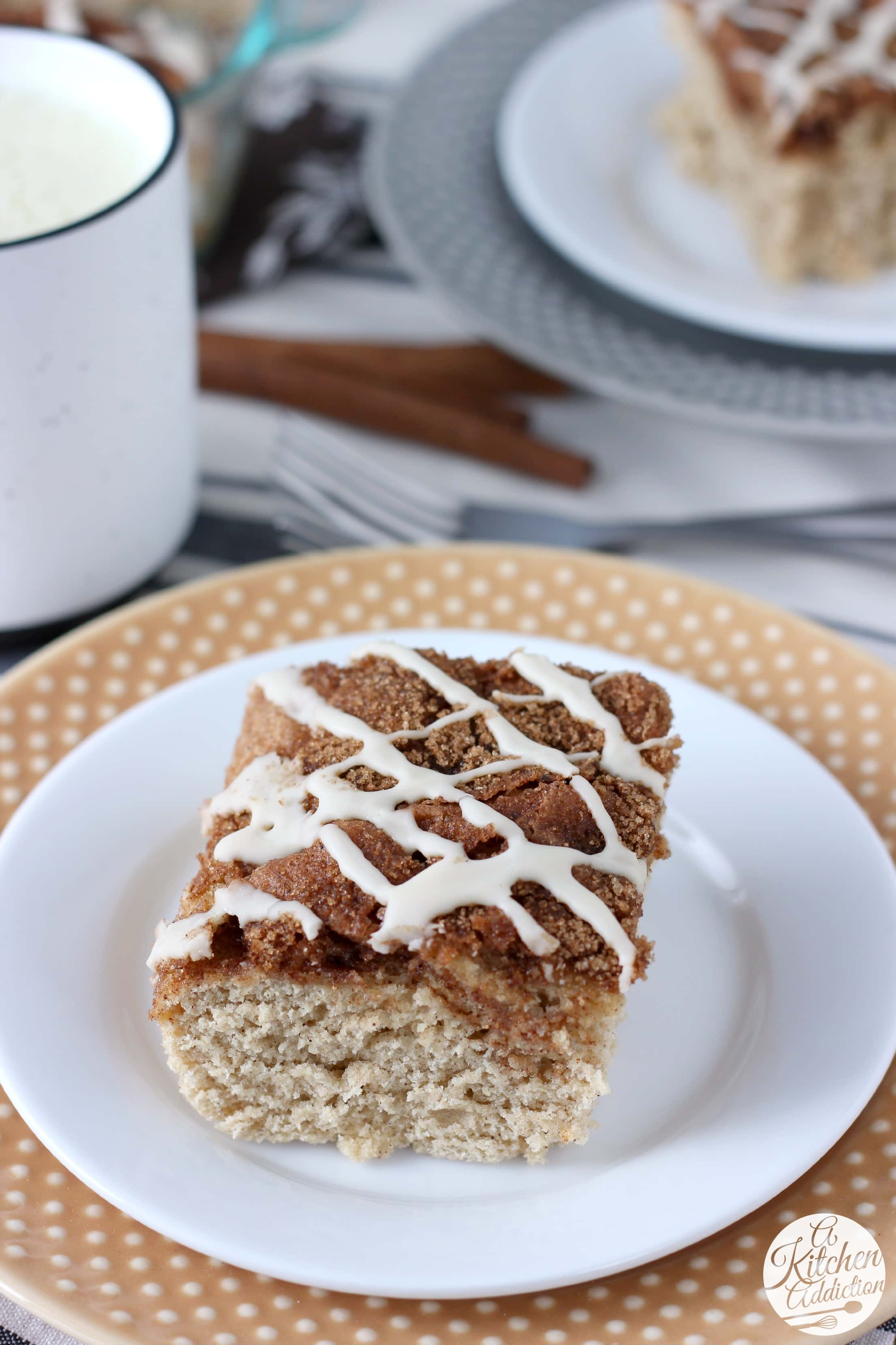 Dairy Free Eggnog Cinnamon Swirl Cake Recipe from A Kitchen Addiction