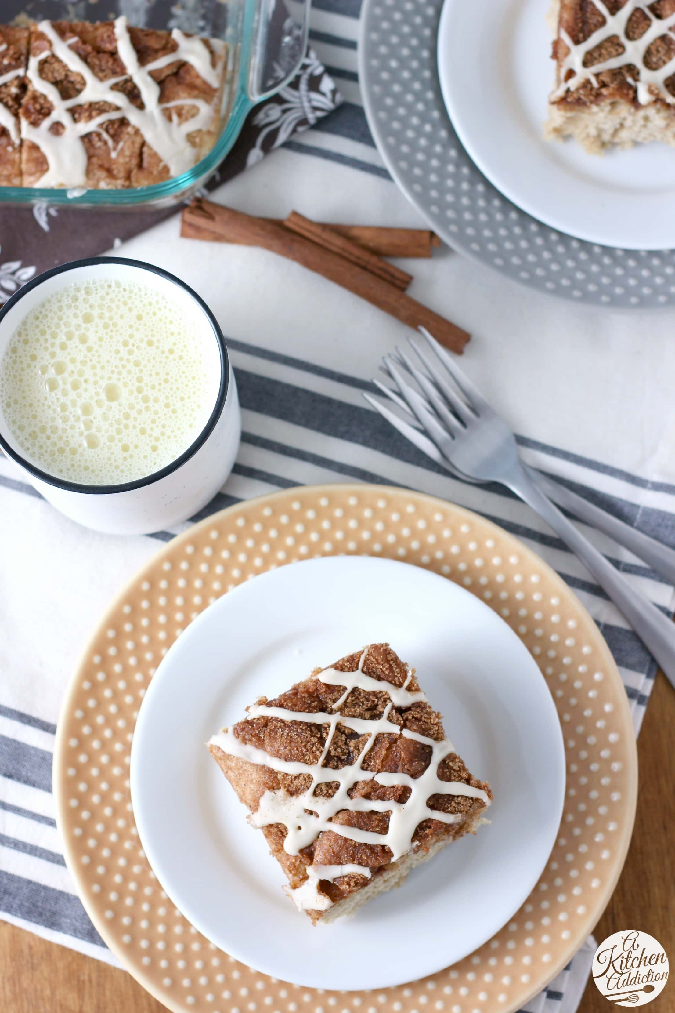 Glazed Eggnog Cinnamon Swirl Cake Recipe from A Kitchen Addiction