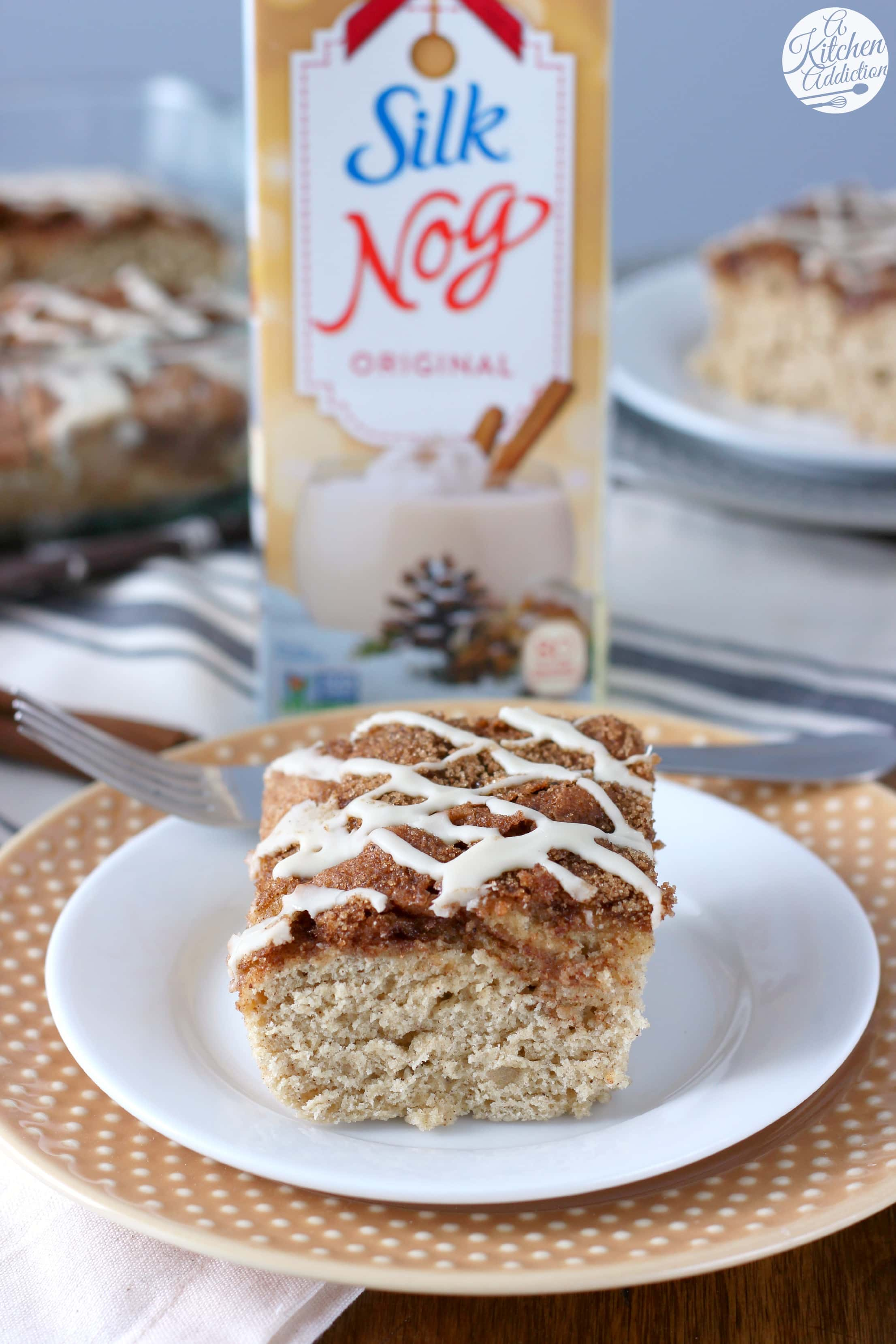 Dairy Free Glazed Eggnog Cinnamon Swirl Cake from A Kitchen Addiction