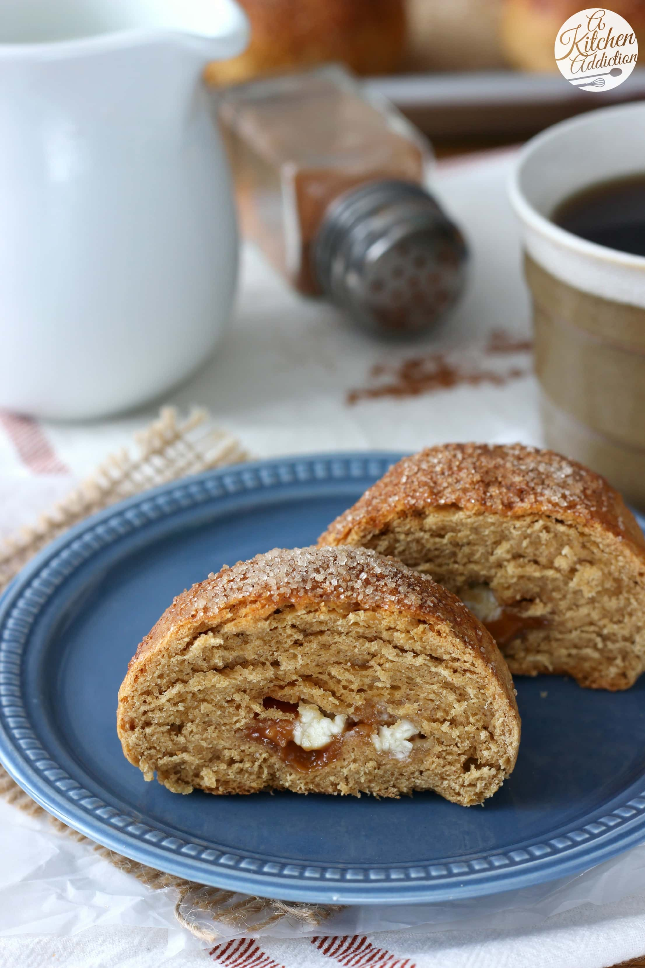 Gingerbread Brioche Rolls filled with white chocolate and caramel bits from A Kitchen Addiction