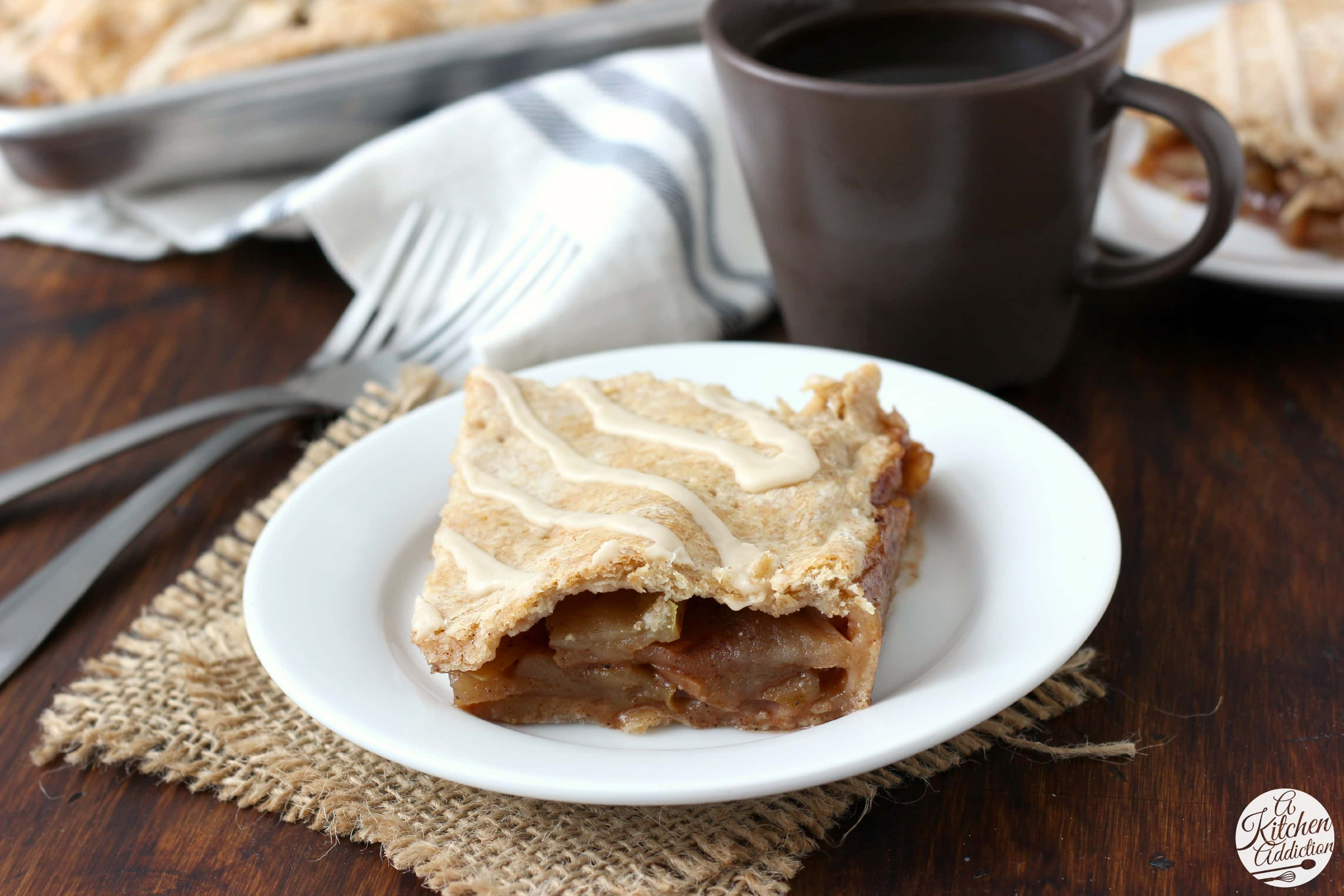 Maple Glazed Apple Pan Pie Piece on a small white plate
