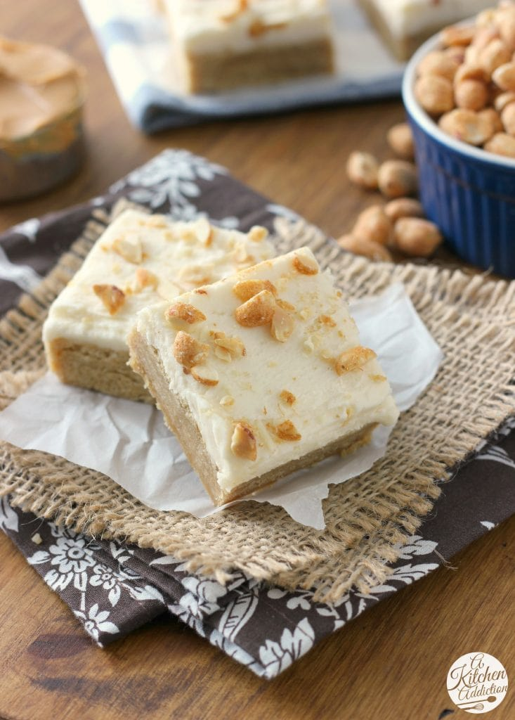Frosted Maple Peanut Butter Bars from A Kitchen Addiction