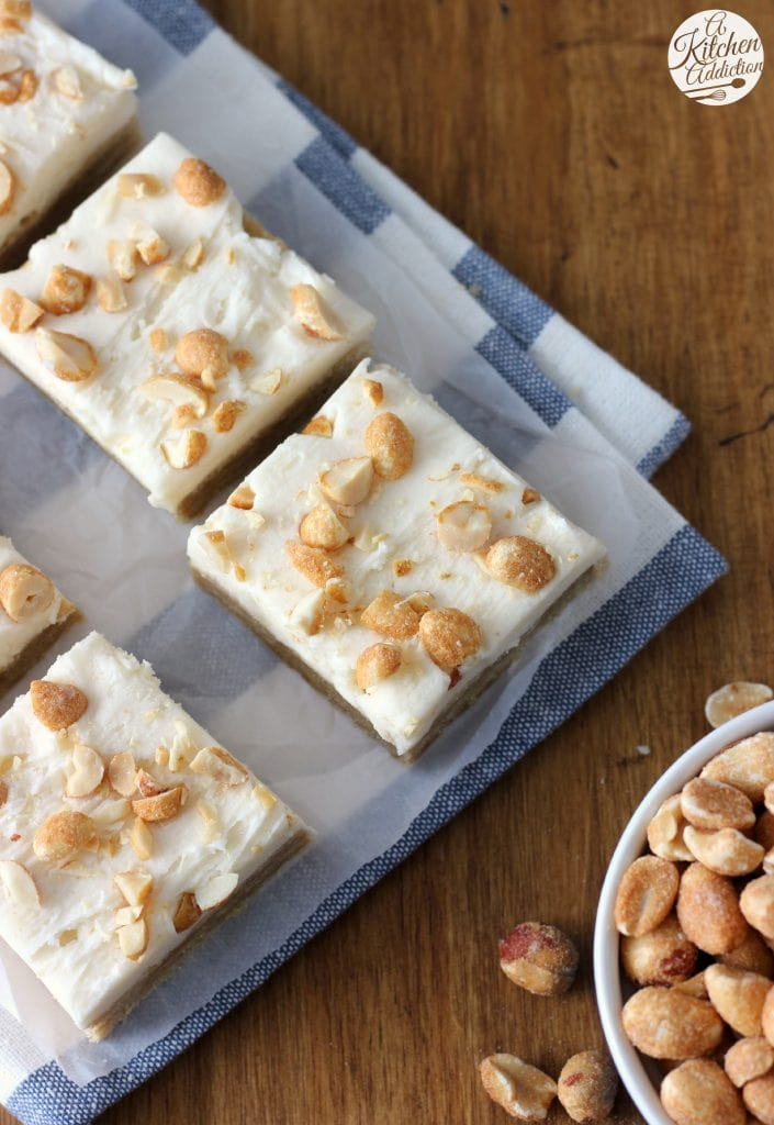 Maple Buttercream Frosted Maple Peanut Butter Cookie Bars from A Kitchen Addiction