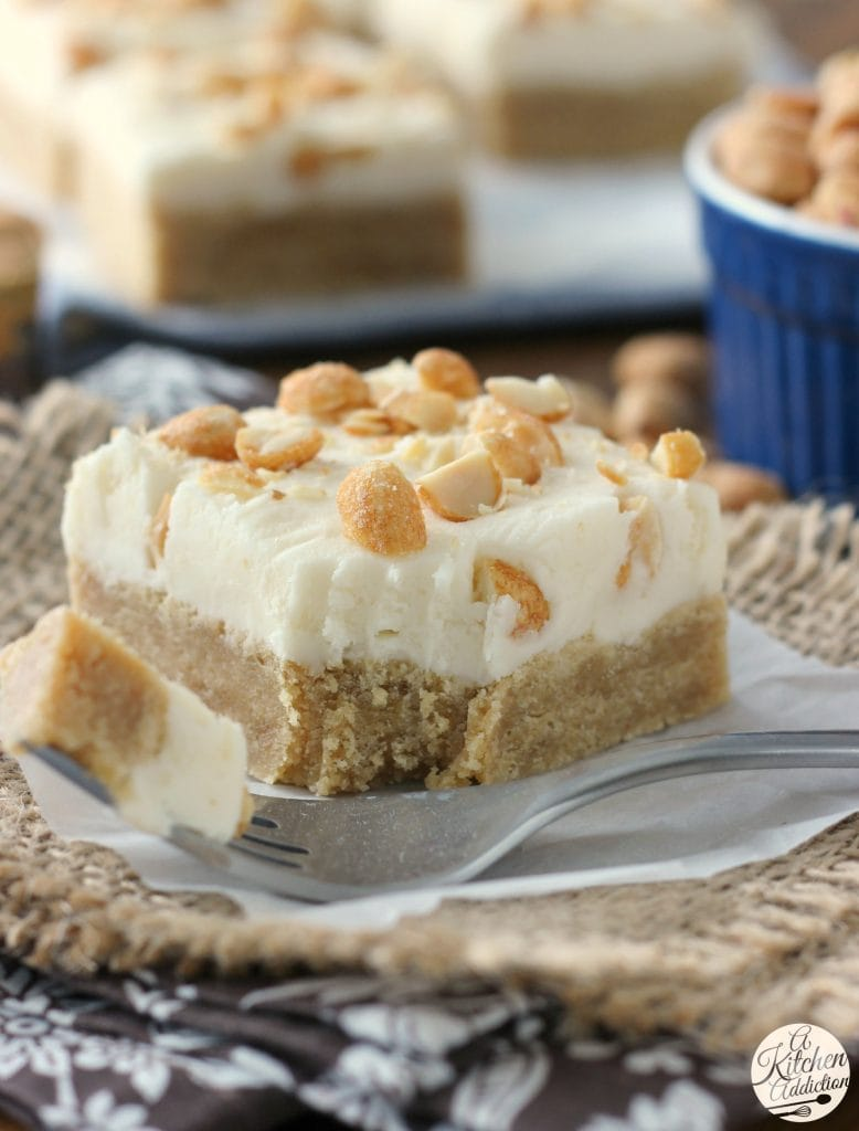 Maple Peanut Butter Cookie Bars with Maple Buttercream Frosting from A Kitchen Addiction