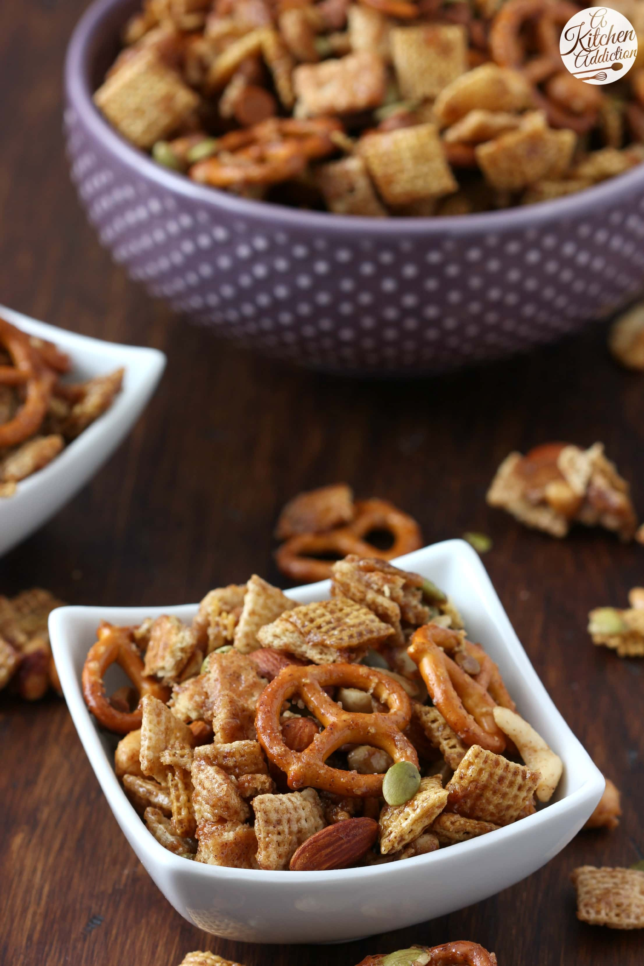 Easy Slow Cooker Cinnamon Maple Chex Mix from A Kitchen Addiction