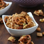 Crock Pot Cinnamon Maple Chex Mix Recipe from A Kitchen Addiction