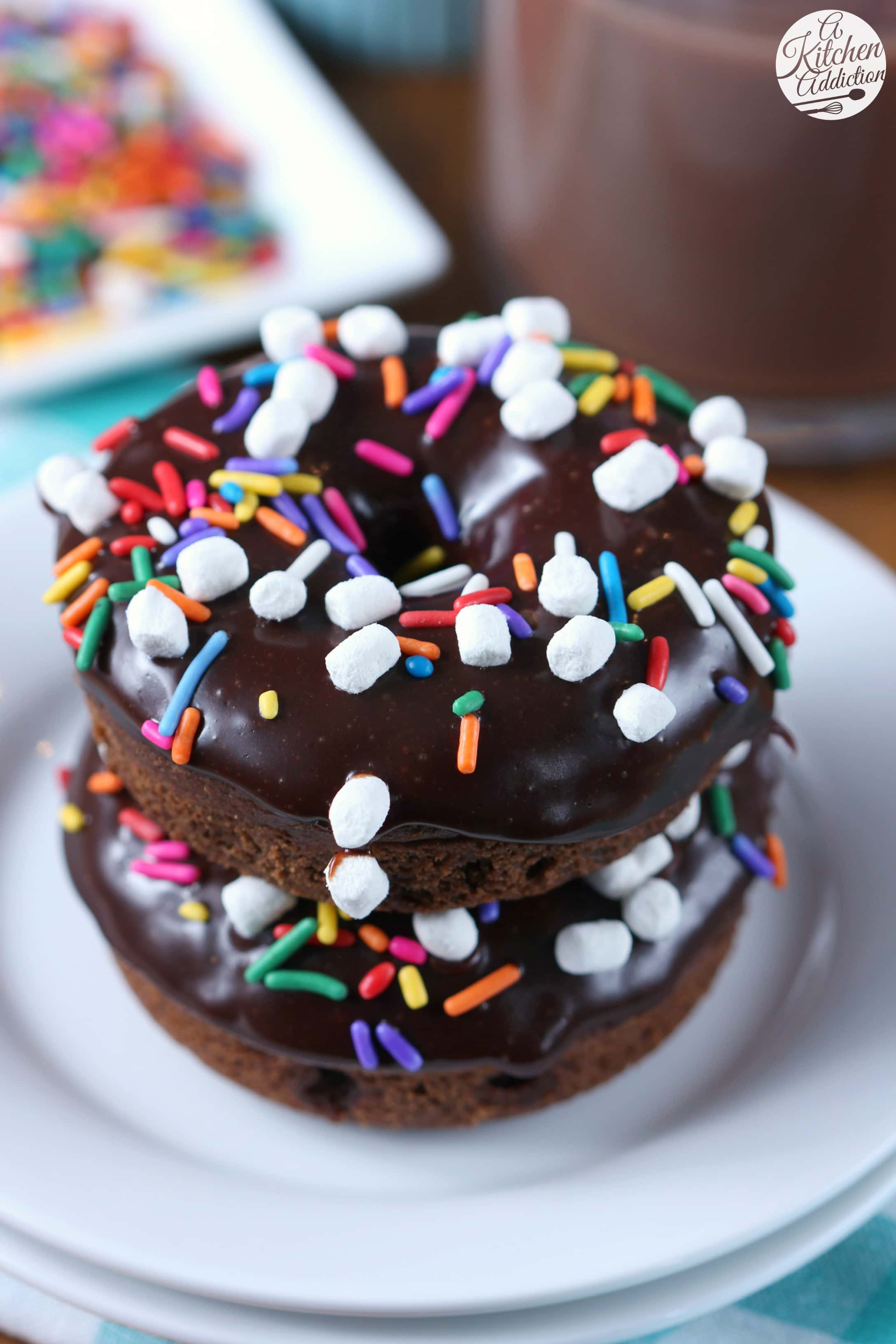 Hot Chocolate Donuts Recipe from A Kitchen Addiction