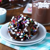 Hot Chocolate Donuts Recipe with Chocolate Ganache from A Kitchen Addiction