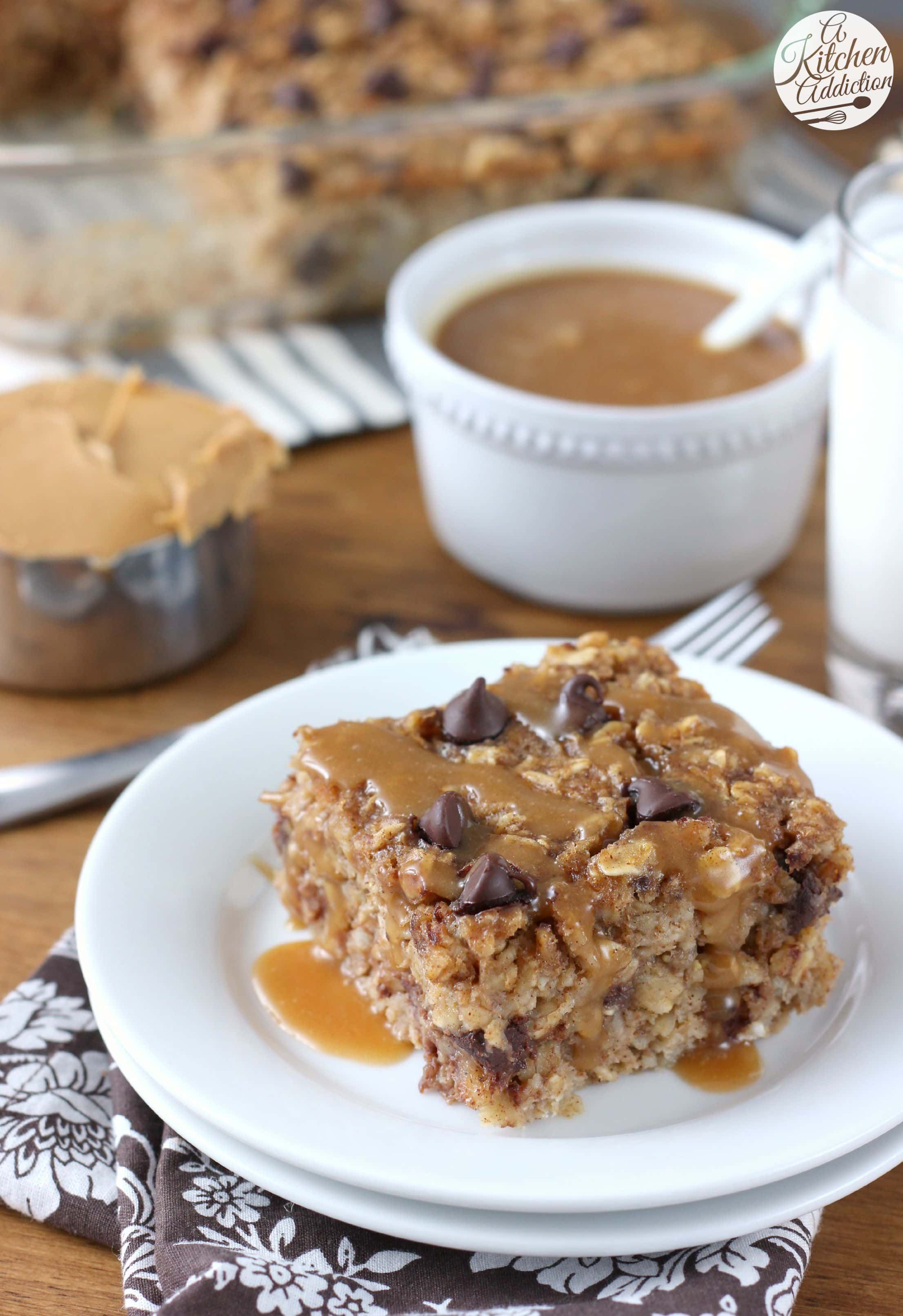 Peanut Butter Chocolate Chip Banana Bread Baked Oatmeal Recipe from A Kitchen Addiction