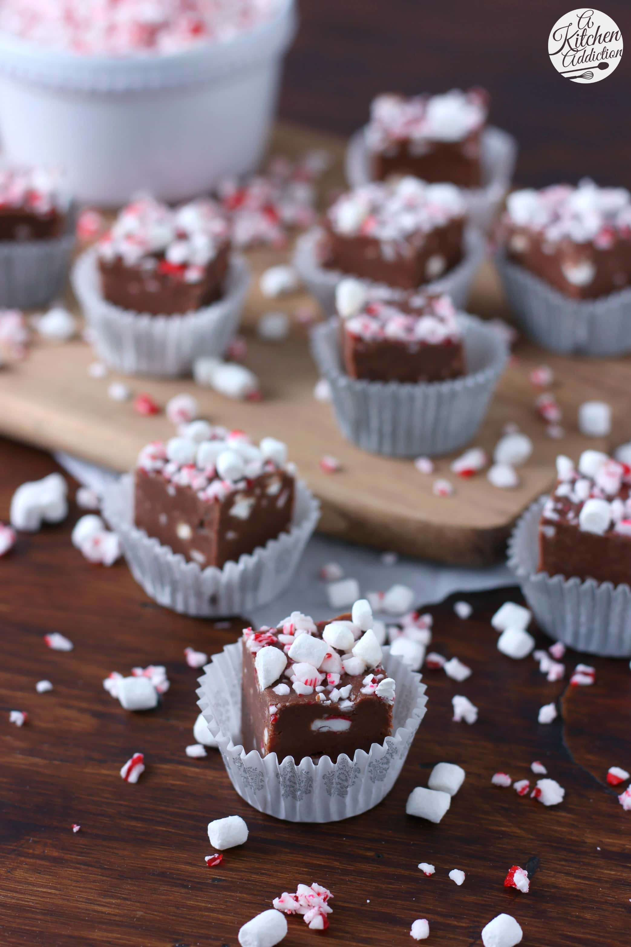 Easy Peppermint Hot Chocolate Fudge Recipe from A Kitchen Addiction