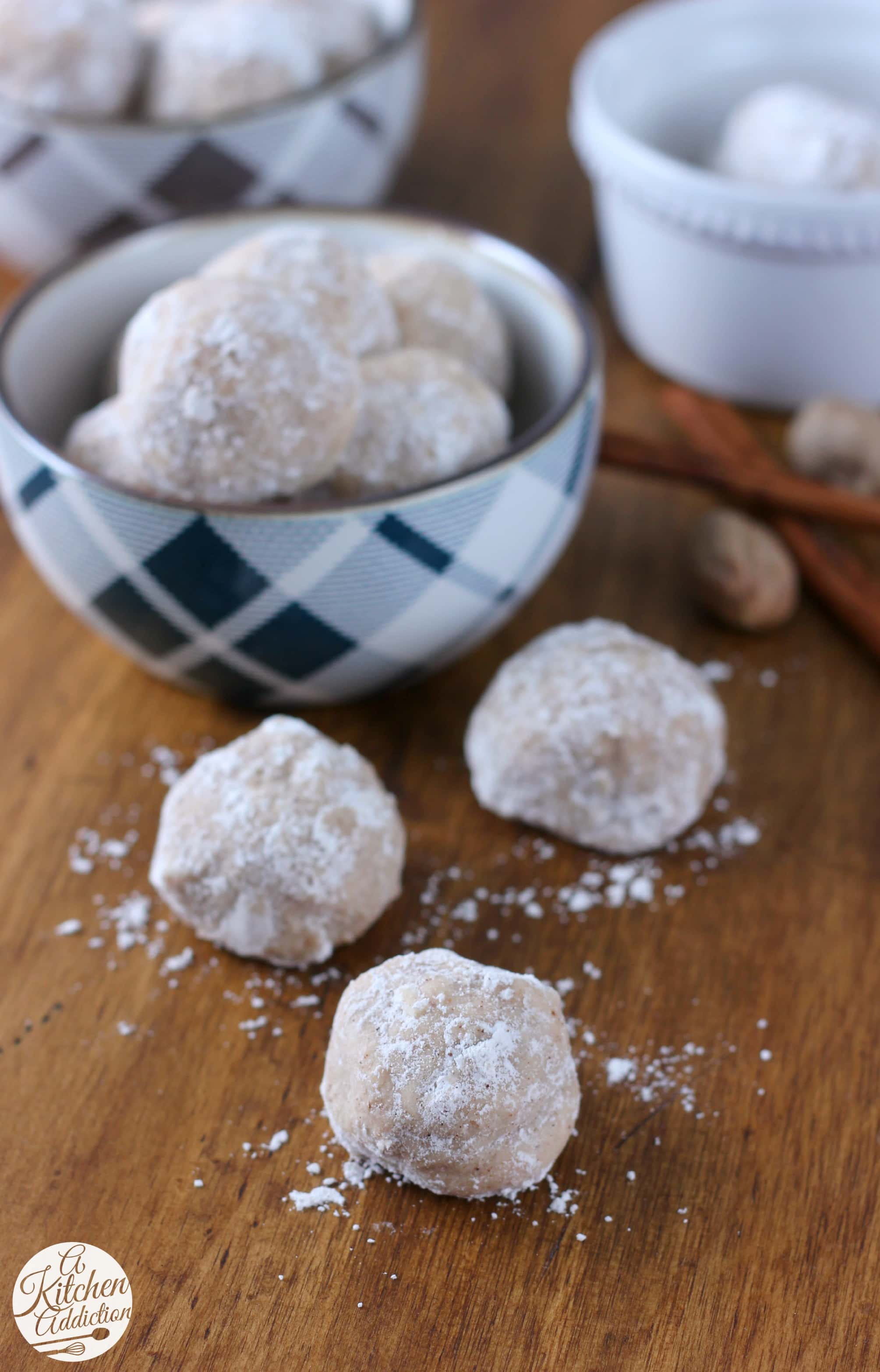 Spiced Eggnog Snowball Cookies Recipe from A Kitchen Addiction
