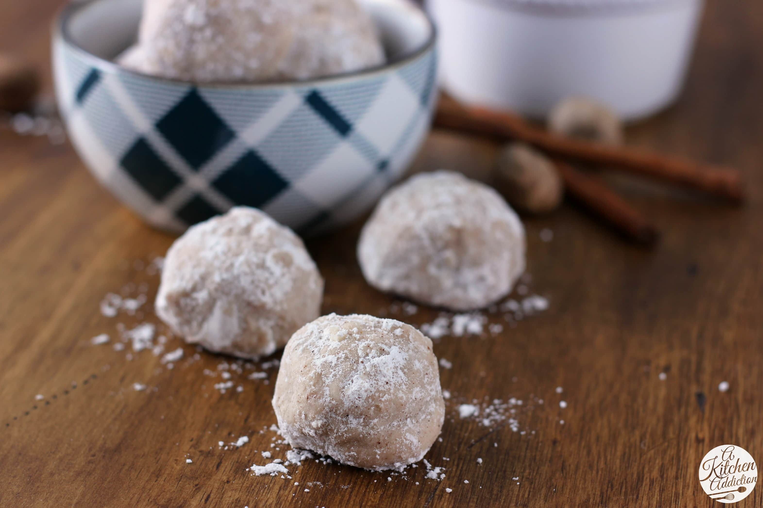 Easy Spiced Eggnog Snowball Cookies Recipe from A Kitchen Addiction