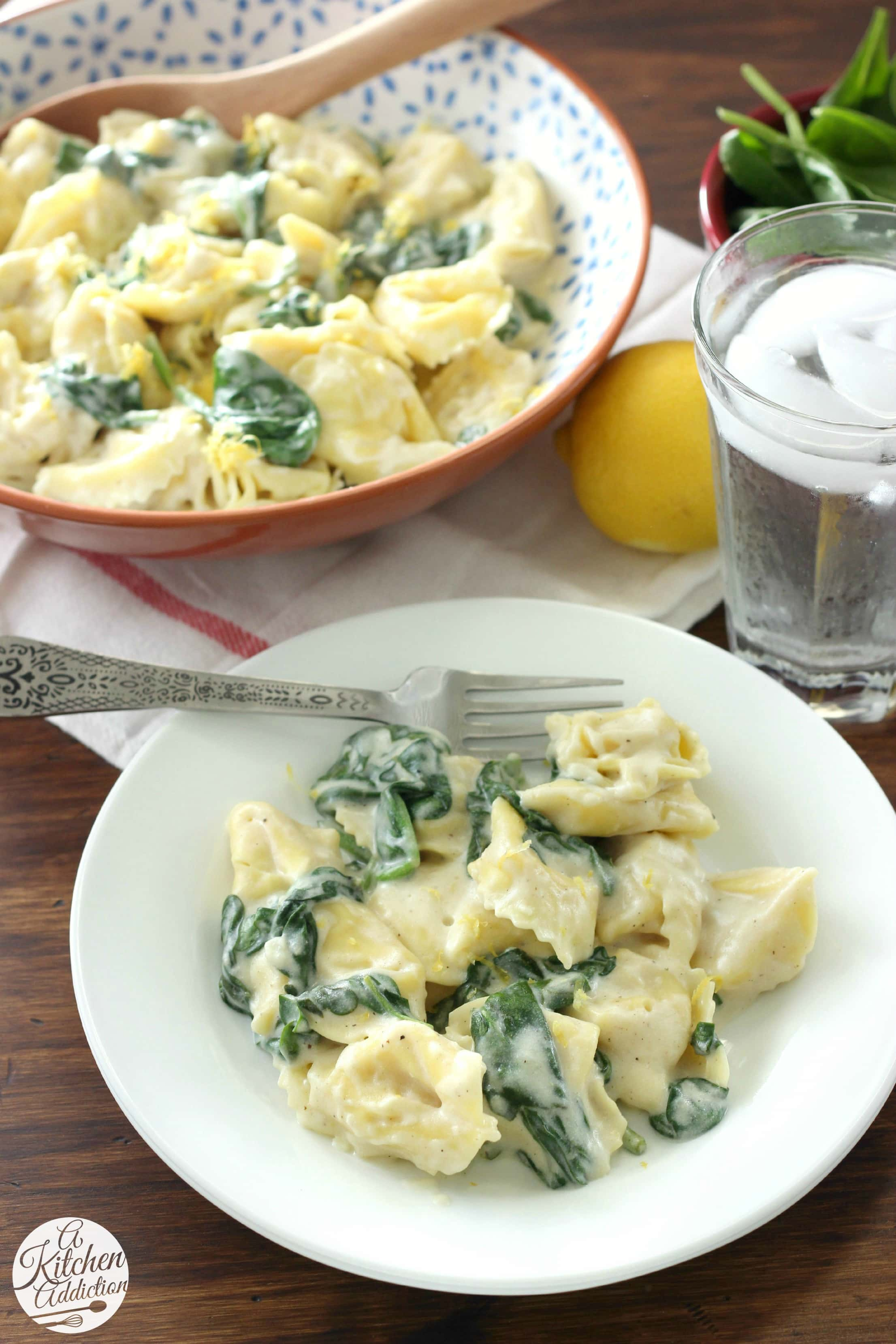 Tortellini with Spinach and Lemon Cream Sauce Recipe from A Kitchen Addiction