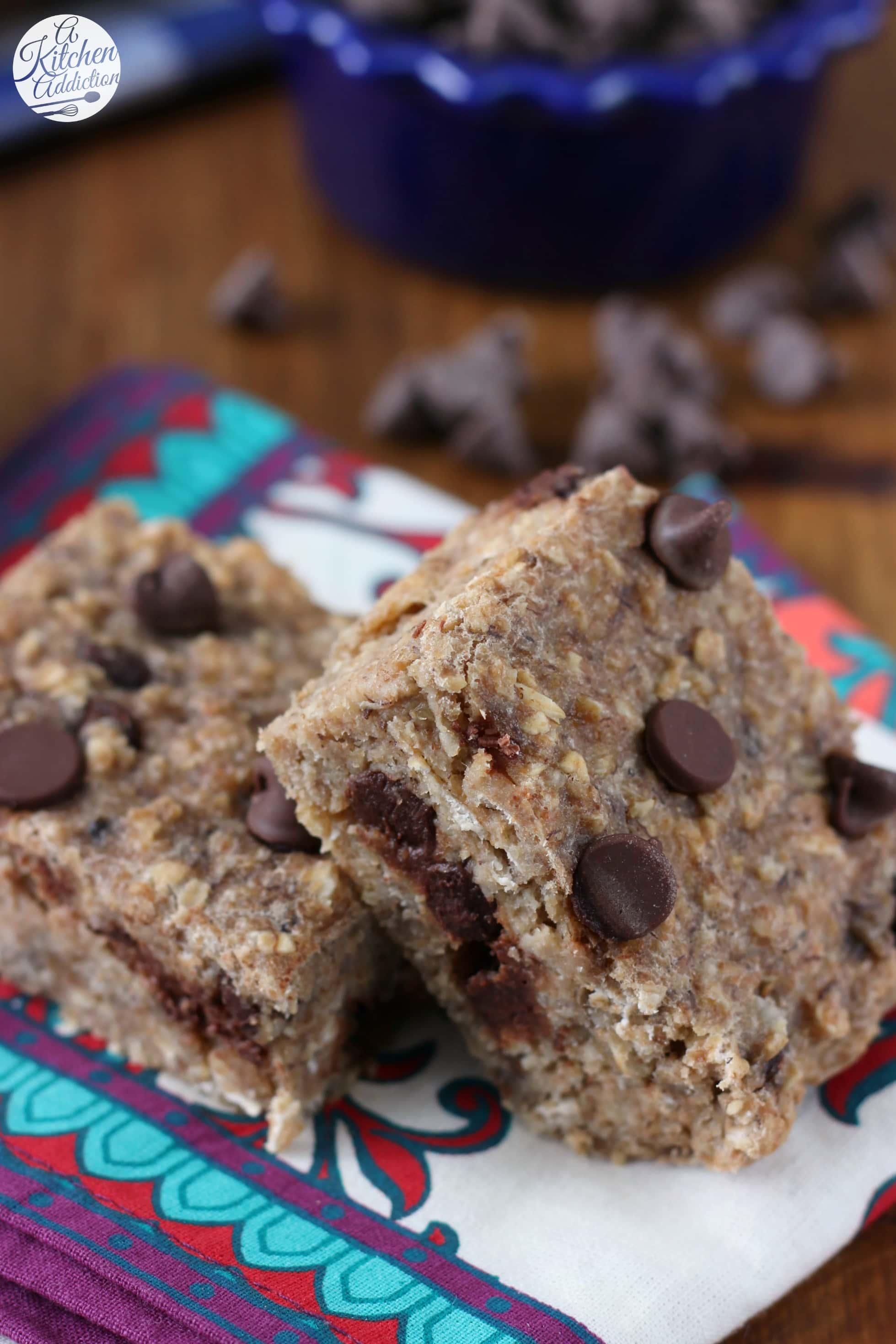 Healthier Chocolate Chip Banana Breakfast Bars Recipe from A Kitchen Addiction