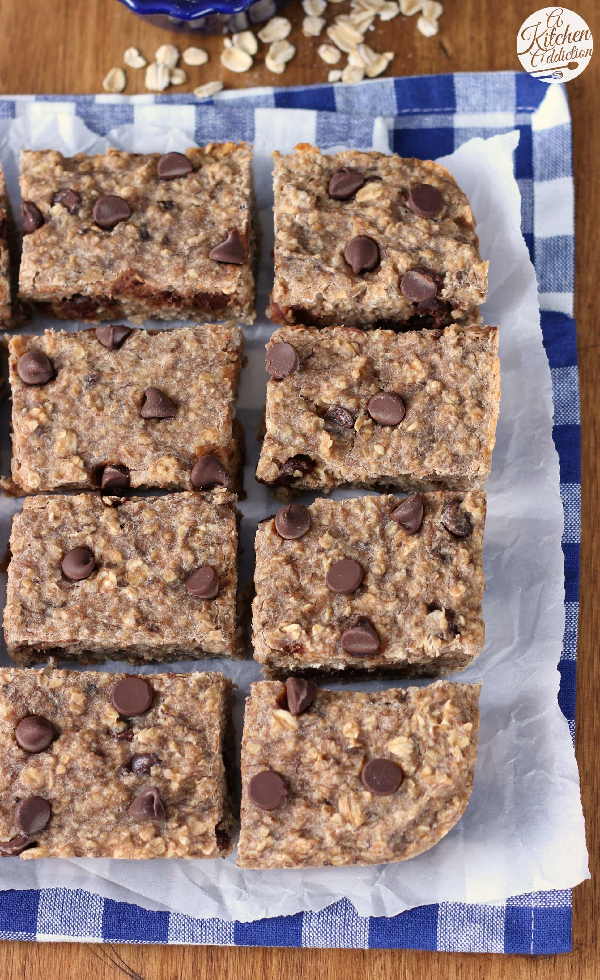 Lightened Up Chocolate Chip Banana Breakfast Bars Recipe from A Kitchen Addiction