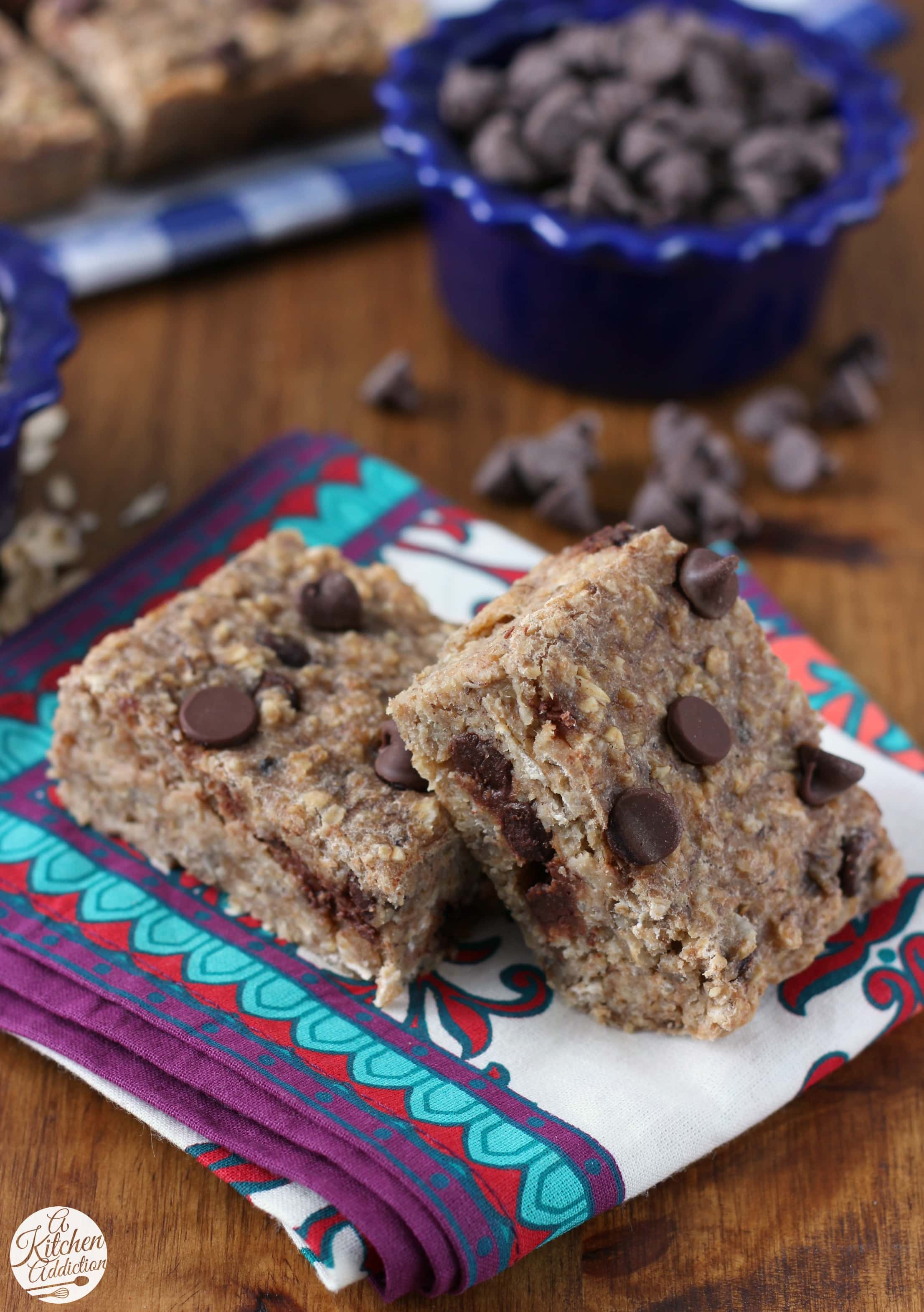 Chocolate Chip Banana Breakfast Bars Recipe from A Kitchen Addiction