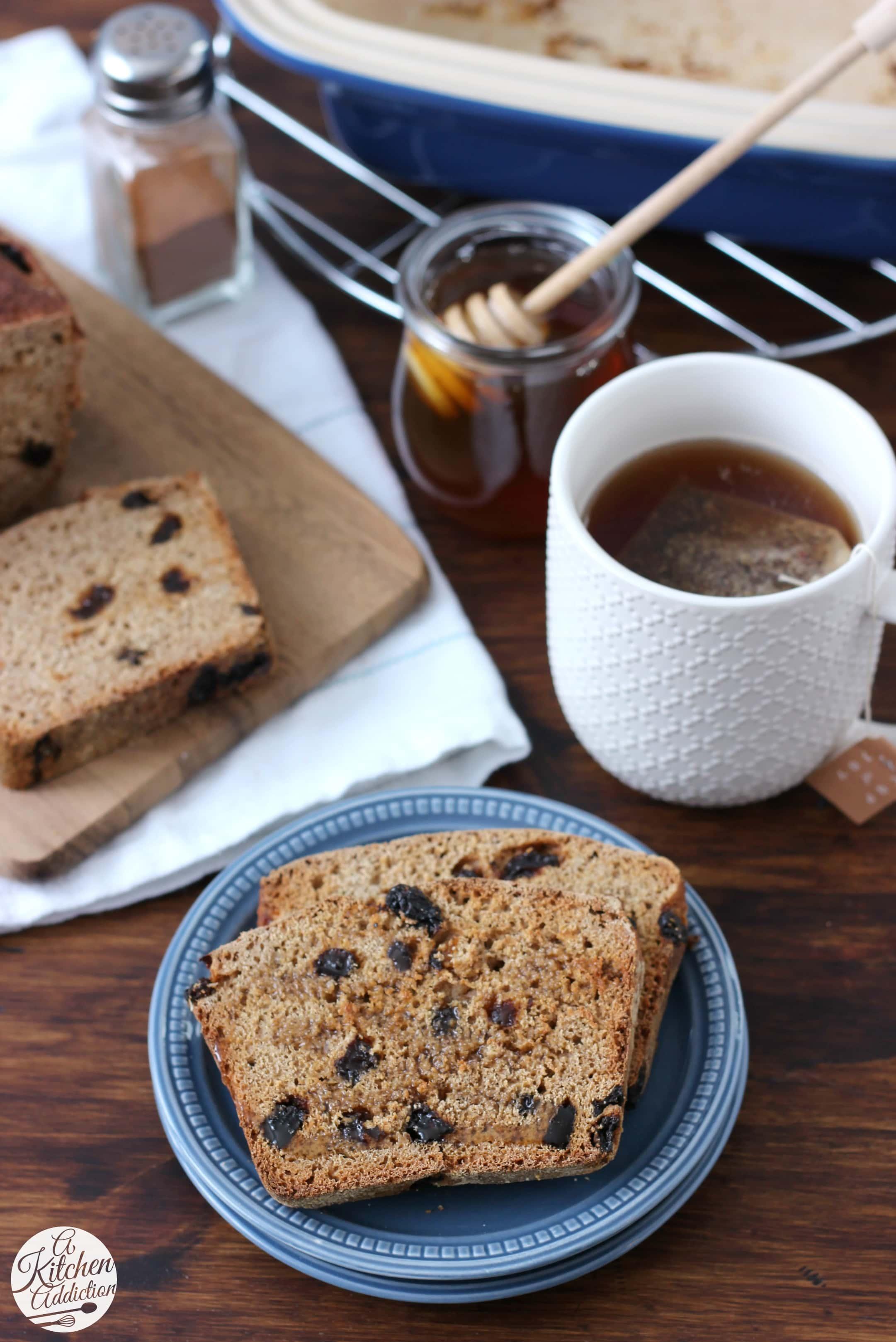 No Knead Cinnamon Raisin Honey Wheat English Muffin Bread Recipe from A Kitchen Addiction