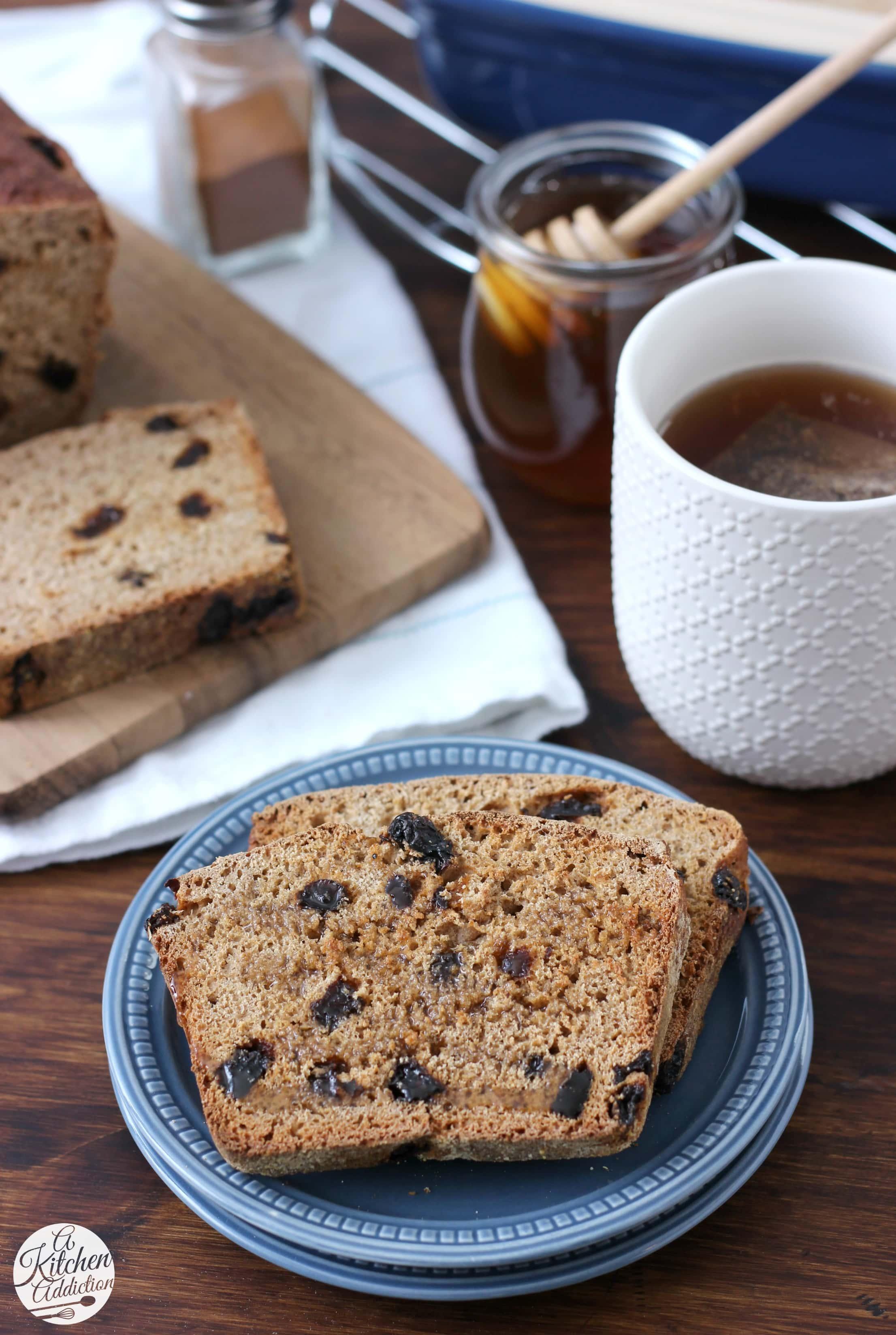 Cinnamon Raisin Honey Wheat English Muffin Bread Recipe from A Kitchen Addiction