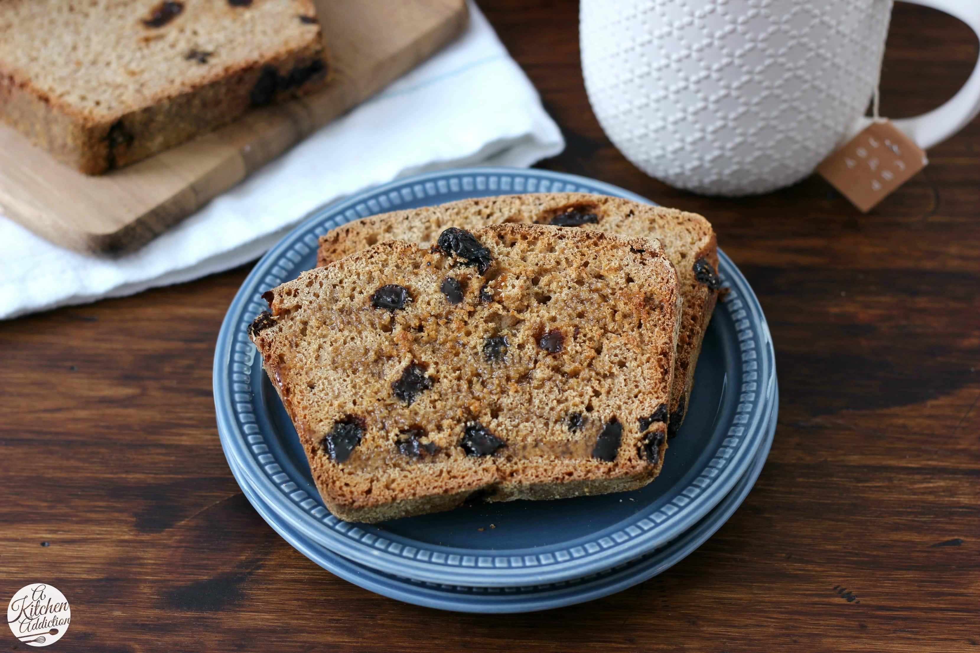 Easy Cinnamon Raisin Honey Wheat English Muffin Bread Recipe from A Kitchen Addiction