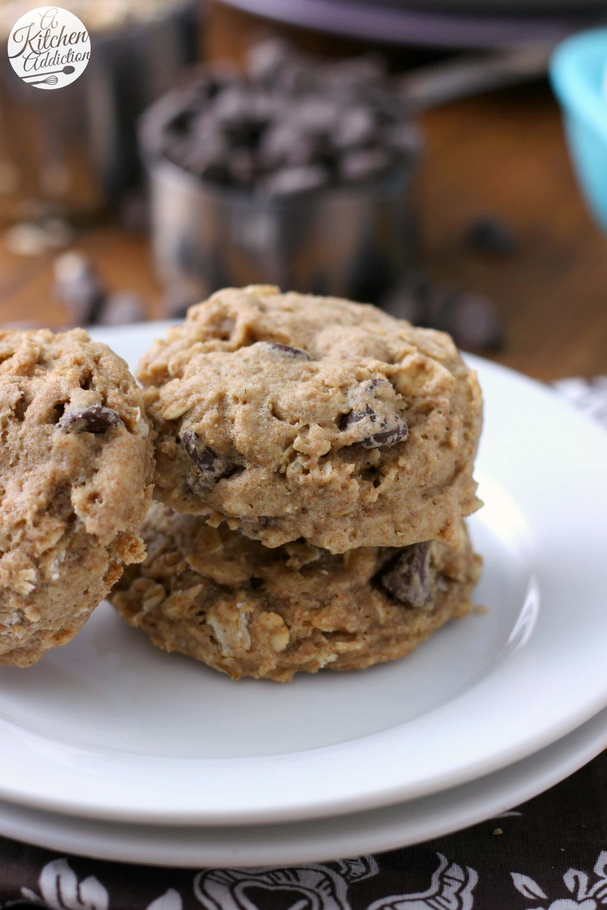 Chewy Coconut Oil Dark Chocolate Chip Oatmeal Cookies Recipe from A Kitchen Addiction