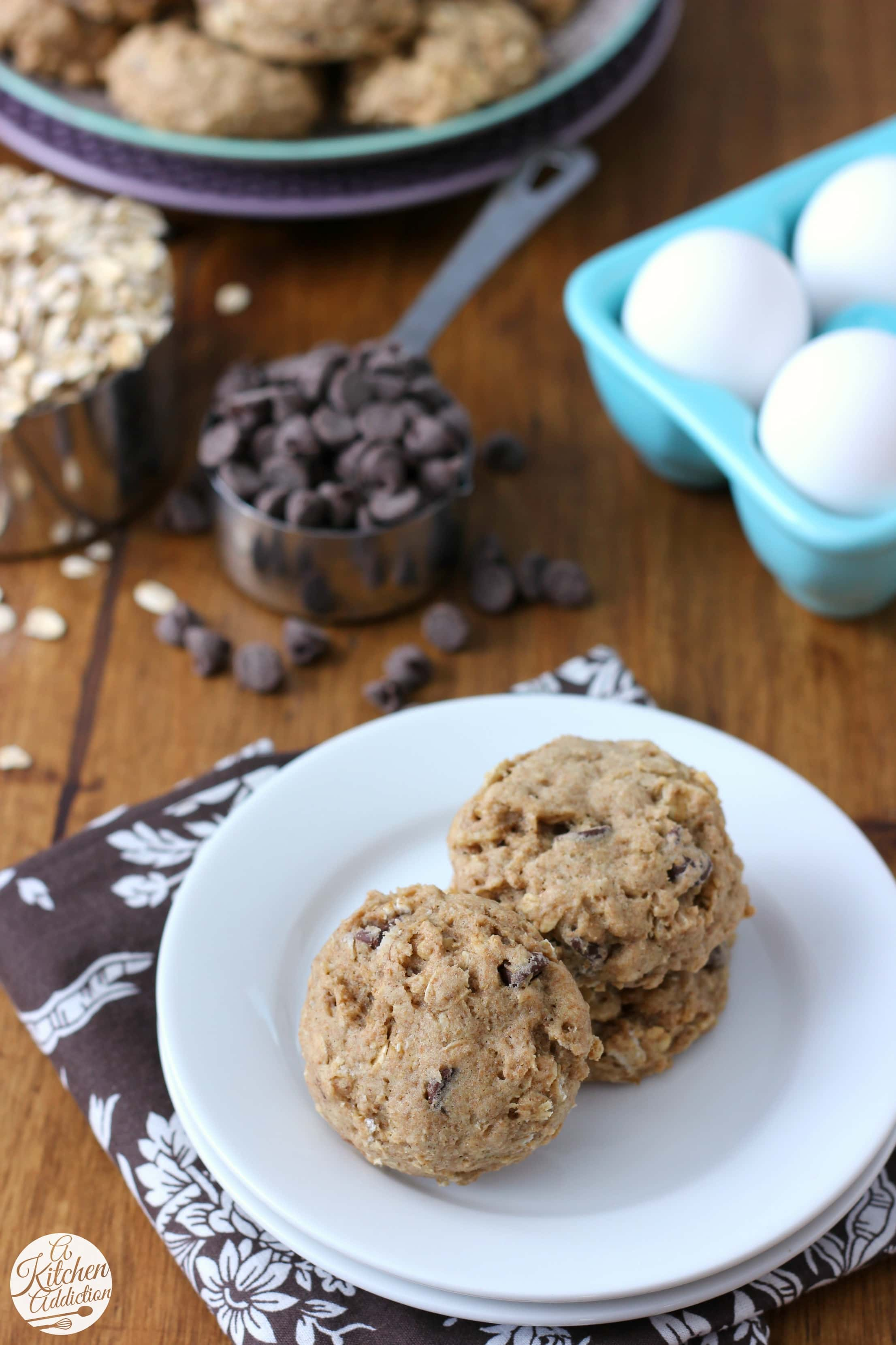 Easy Coconut Oil Chocolate Chip Oat Cookies Recipe from A Kitchen Addiction