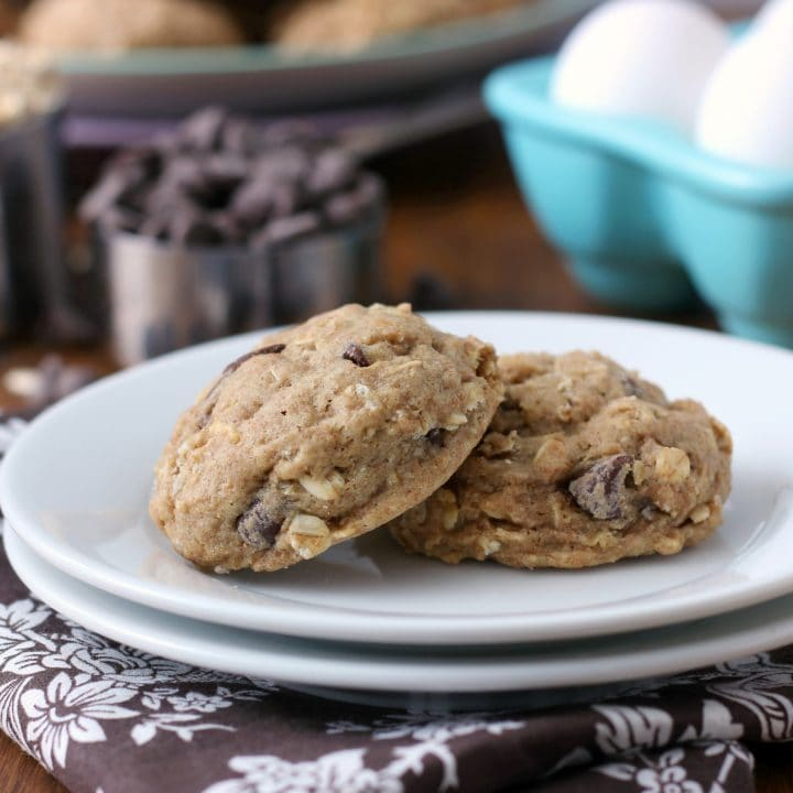 Chewy Coconut Oil Dark Chocolate Chip Oat Cookies Recipe from A Kitchen Addiction