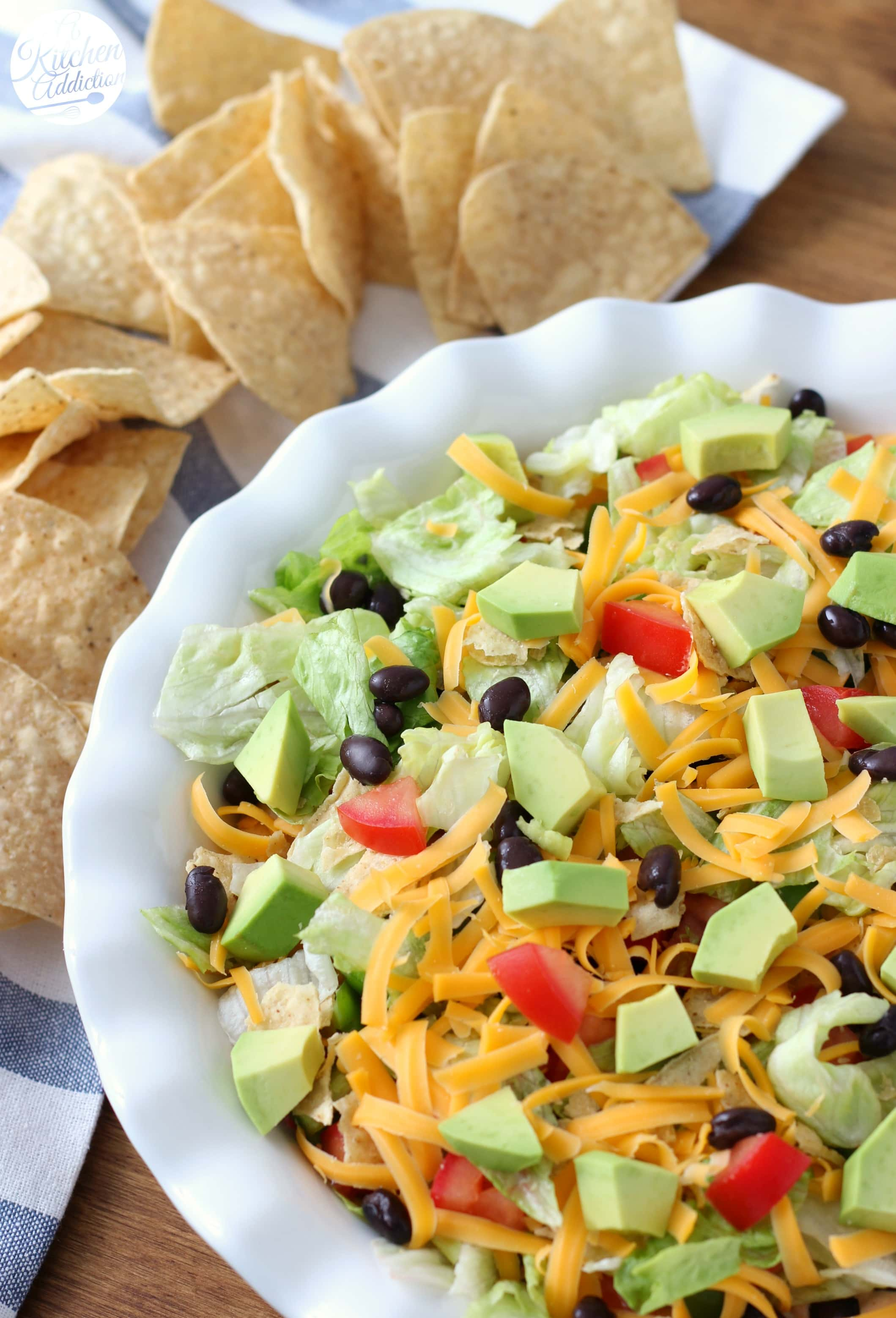 Healthier Ranch Taco Dip Game Day Appetizer from A Kitchen Addiction