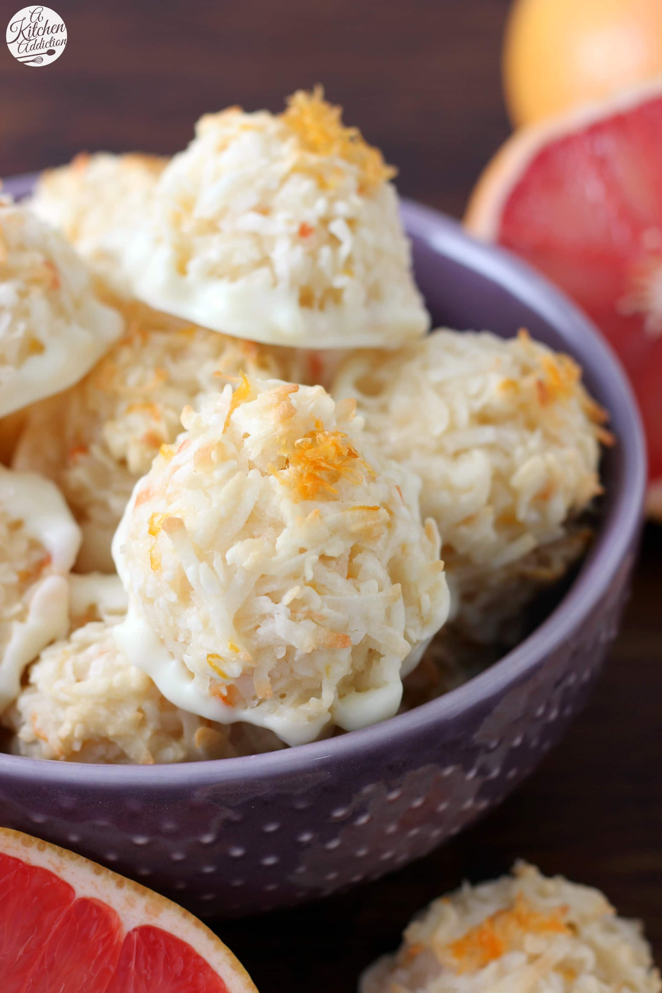 Coconut Grapefruit Macaroons dipped in White Chocolate