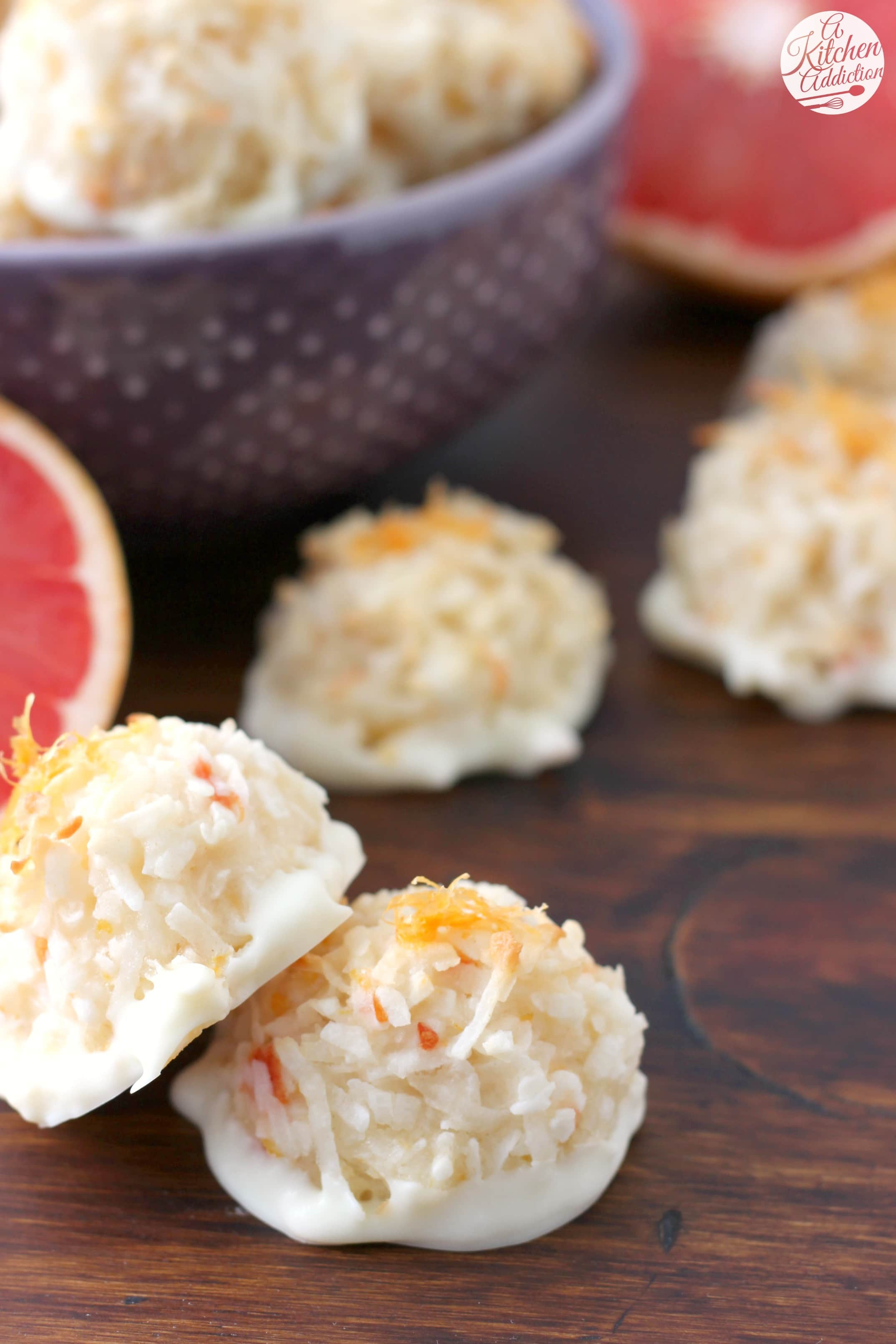 Coconut Grapefruit Macaroons Recipe from A Kitchen Addiction