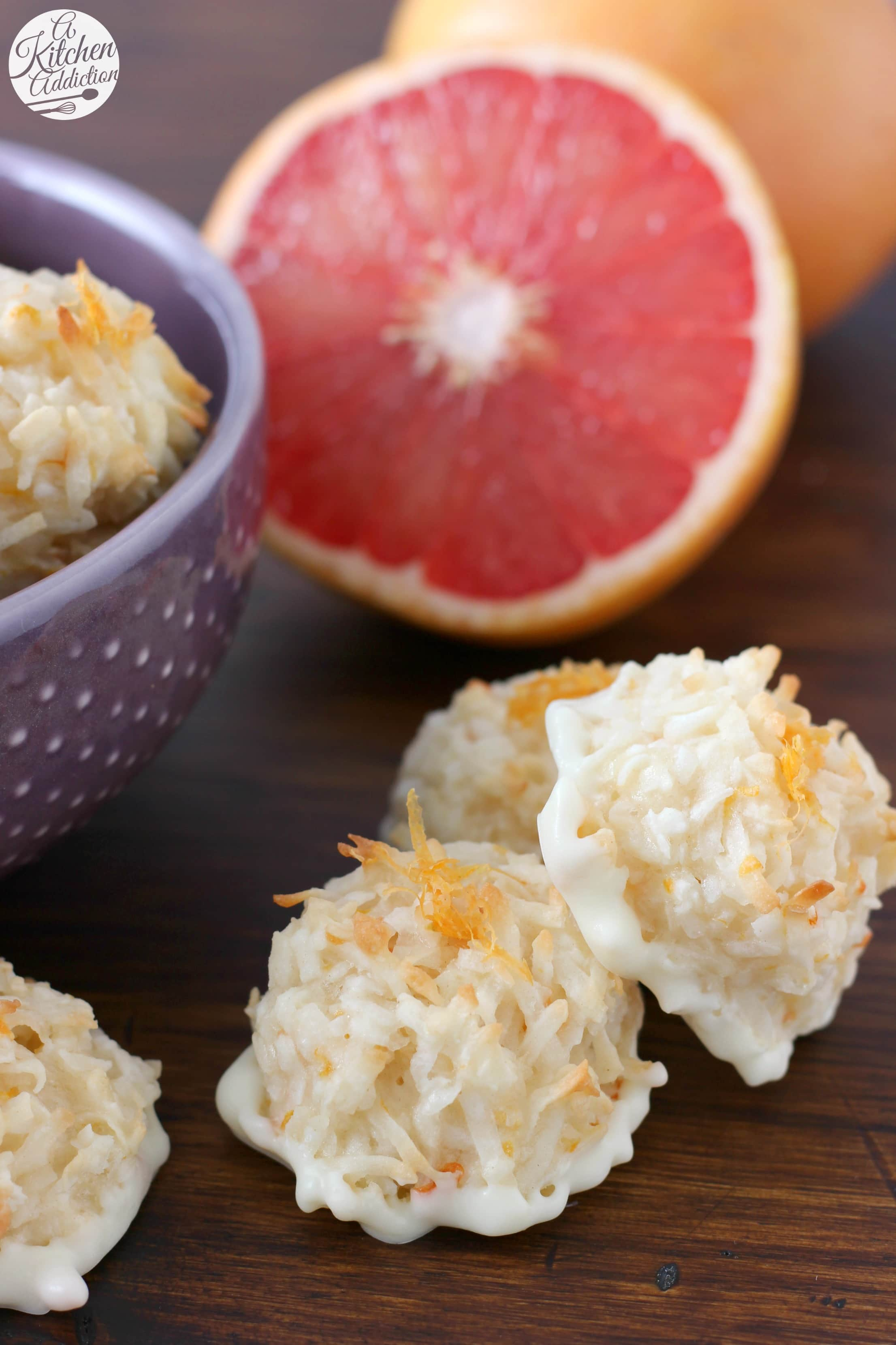 Easy Coconut Grapefruit Macaroons Recipe from A Kitchen Addiction