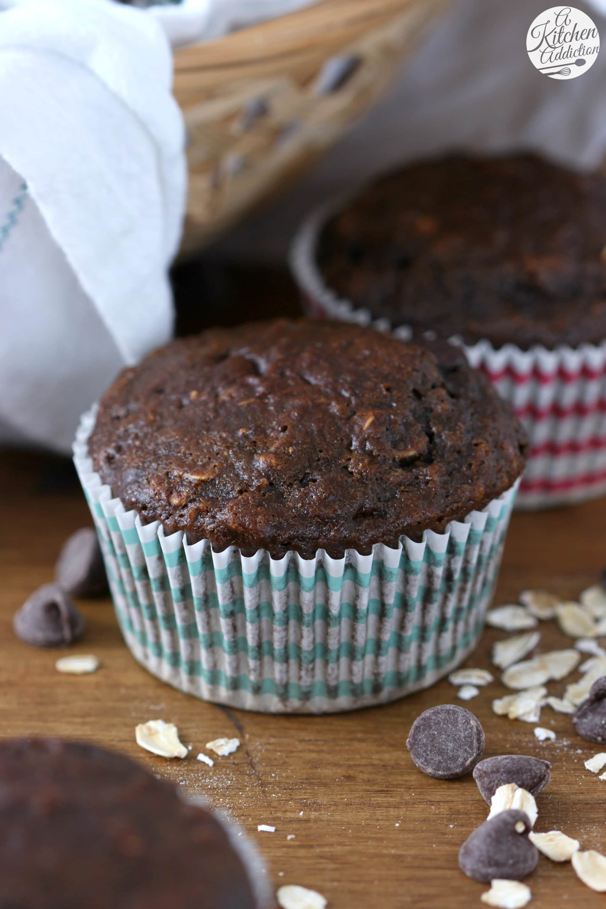 Skinny Double Chocolate Oat Muffins Recipe from A Kitchen Addiction